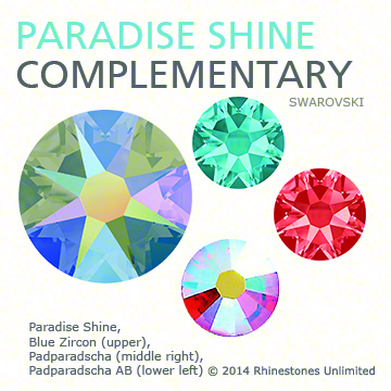Swarovski Crystal Paradise Shine with Blue Zircon, Padparadscha and Padparadscha AB in a complementary color story