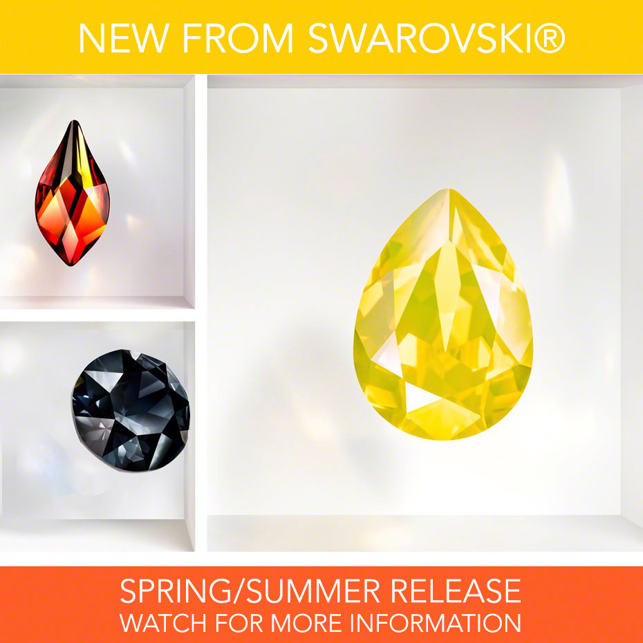 New from Swarovski, Innovations for Spring/Summer 2017 trends feature colors Graphite and Yellow Opal, and cut Flame