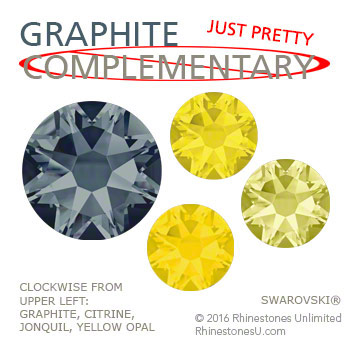 Swarovski Graphite in an attractive color pairing that does not make use of blue's complementary color, orange, but is just pretty paired with shades of yellow.