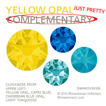 Swarovski Yellow Opal in an attractive color pairing that does not make use of yellow's complementary color, purple, but is just pretty paired with shades of blue.