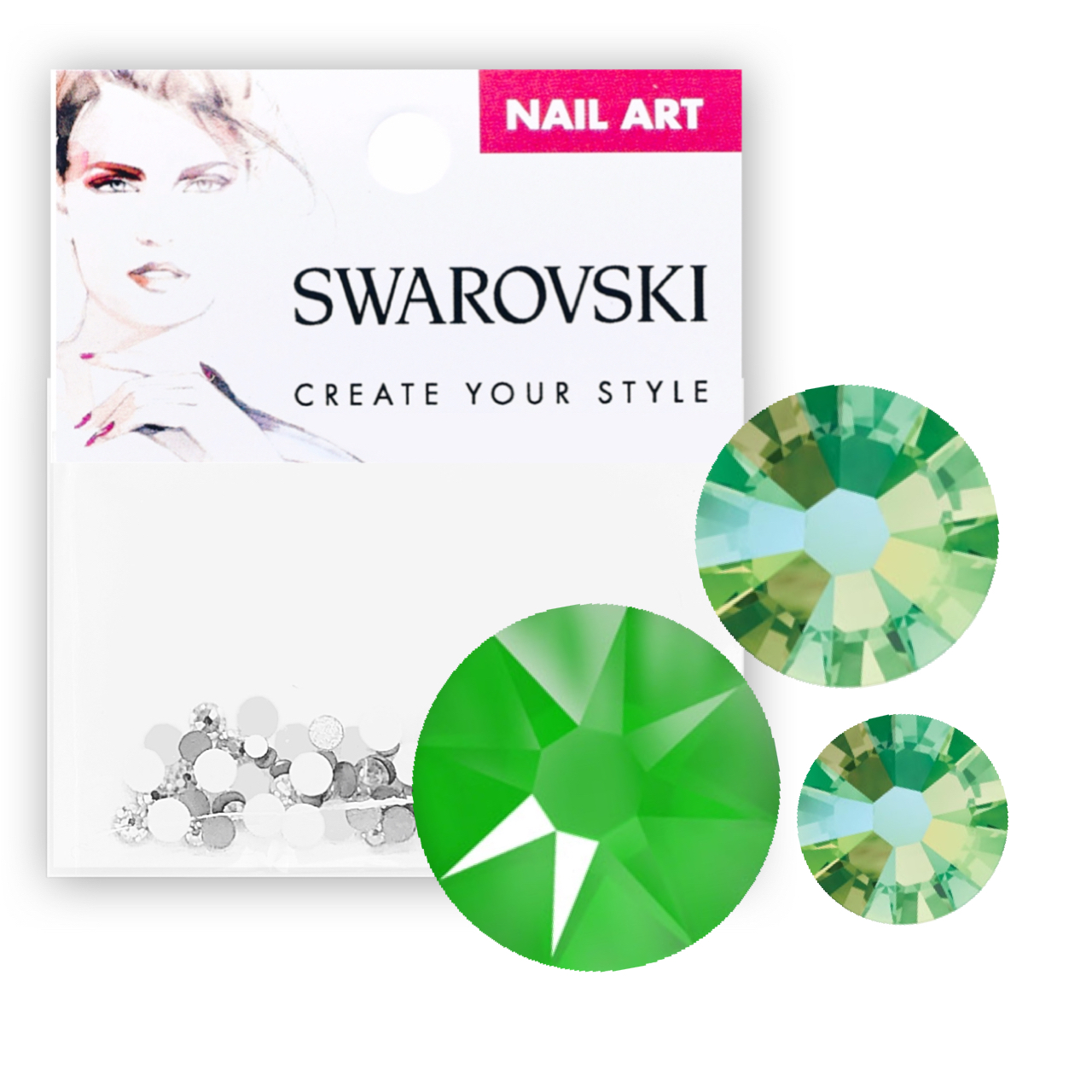 Crystals for Nails - Electric Green Mixed Pack