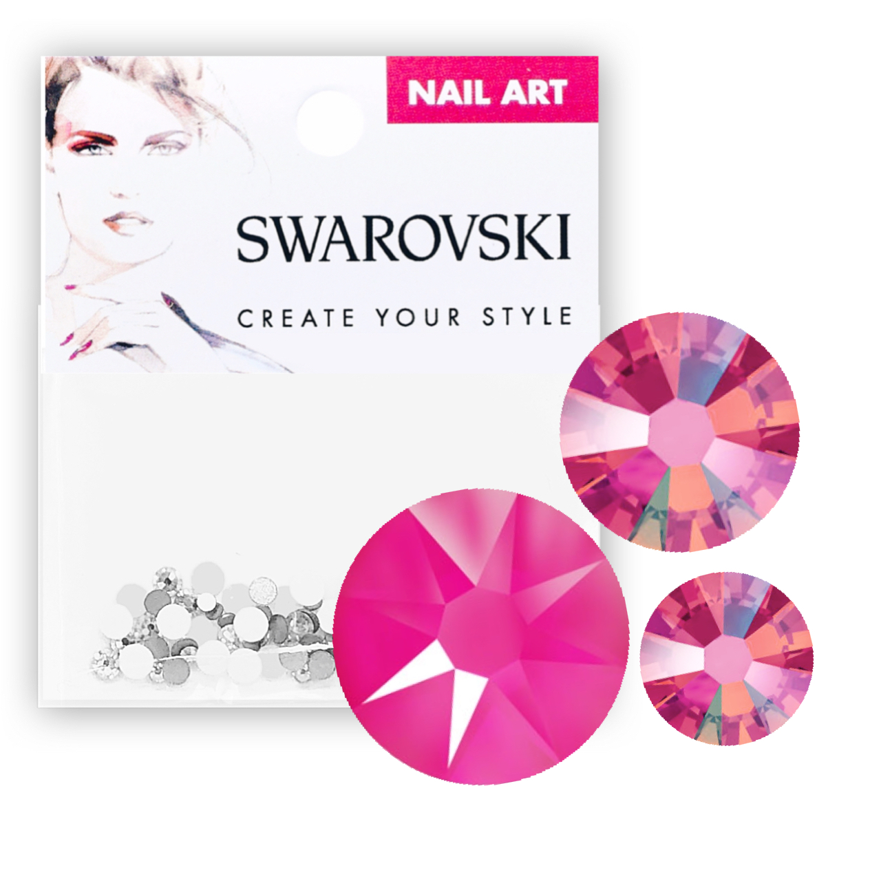 Crystals for Nails - Electric Pink Mixed Pack