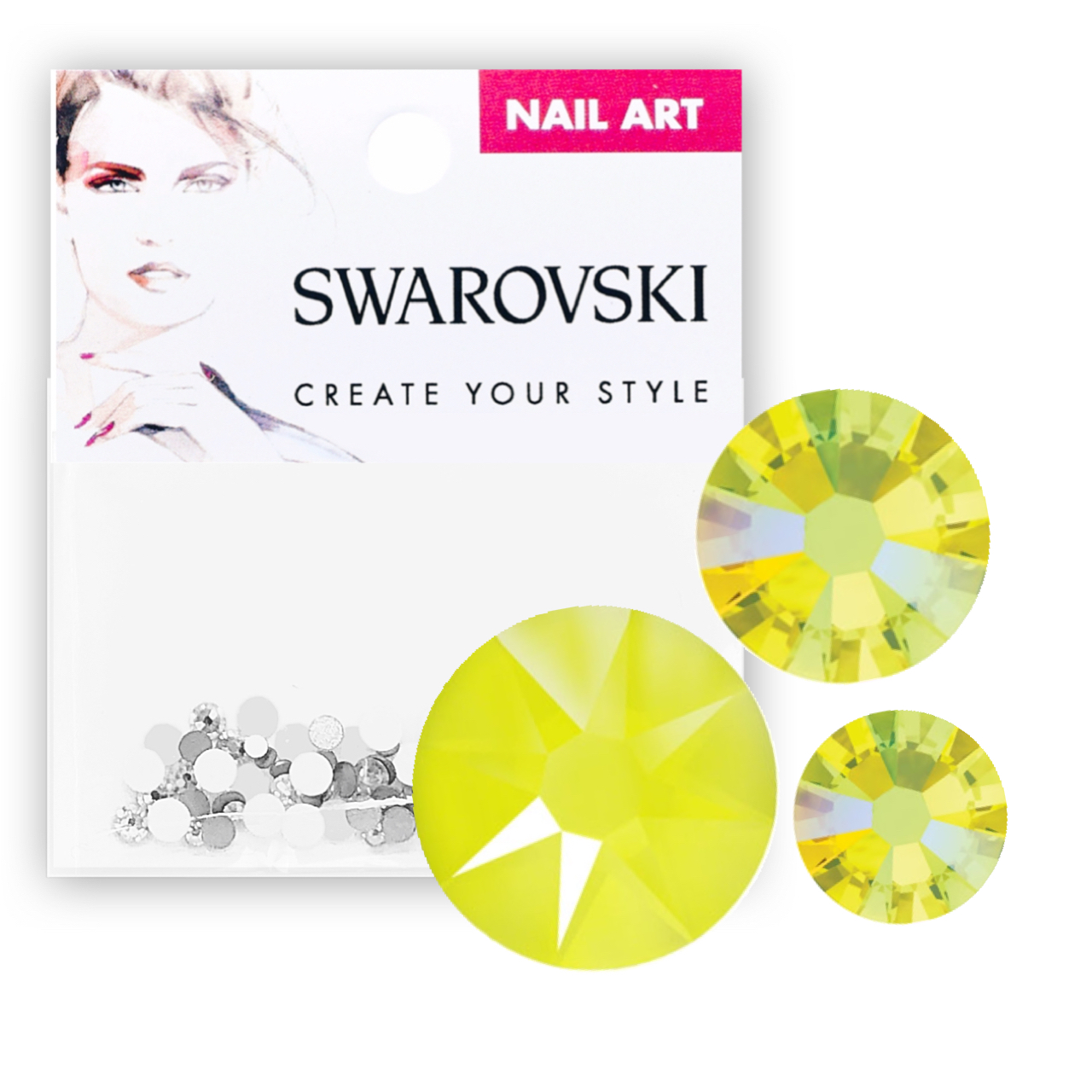 Crystals for Nails - Electric Yellow Mixed Pack
