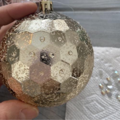 DIY Rhinestone Ornaments - Gold